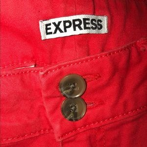 Express Shorts - Women's EXPRESS Shorts 10 Khaki Coral Red Cuffed
